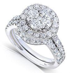 1 1/3ct TW Round Cluster Diamond Wedding Ring Set in 14k White Gold - Size 7.5 Kobelli http://www.amazon.com/dp/B00LALVGVU/ref=cm_sw_r_pi_dp_PpMxvb0PFAZDF