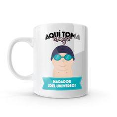 Mug - Aquí toma el mejor nadador del universo, encuentra este producto en nuestra tienda online y personalízalo con un nombre o mensaje. Chocolate Caliente, Mugs, Tableware, Swimmers, Coffee Cup, Gift, Store, Universe, Messages