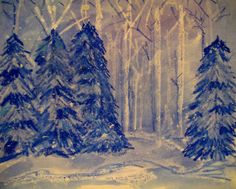 Winter Resists from Laugh, Paint, Create-draw lines and background trees with white oil pastels, add cedar trees with blue & white oil pastels, paint with cool watercolors, add white snow splatter