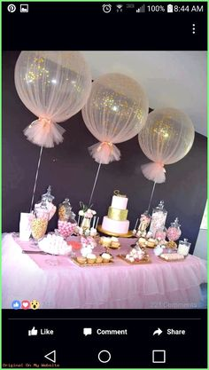 Baby Shower Decorations Balloons wrapped in tulle for party decor Deco Baby Shower, Shower Party, Baby Shower Parties, Baby Shower Themes, Baby Shower For Girls, Baby Shower Table Set Up, Shower Cake, Shower Favors, Tulle Baby Shower