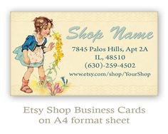 Etsy Business cards Personalized pre-made business cards on digital collage sheet Printable download Etsy shop set made by FrezeArt