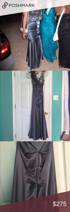 Beautiful dress to the left Silky grey dress worn only once. Beautiful for your aunts wedding! 😜 Xscape Dresses Prom