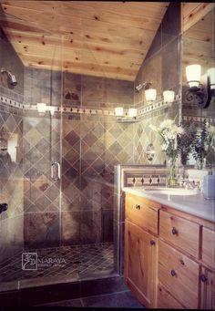 Rustic bathroom with slate shower. Rustic Bathroom Shower, Tile Walk In Shower, Bathtub Shower Combo, Rustic Bathroom Designs, Bathroom Red, Bathroom Interior, Small Bathroom, Slate Shower Tile, Master Bathroom
