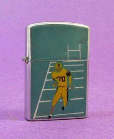 Vintage Flip-Top CIGARETTE LIGHTER Football Player Design