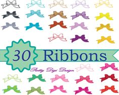 30 Instant download Pretty Ribbons Clip art, Bow digital art, Printable Ribbons, Scrapbooking bow clip art,  Ribbon diy card, Bow PNG files by PrettyDigiDesign on Etsy