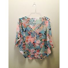 Candie's Slit Shirt There's a slit in the arm, super cute and thin and beautiful colors! Gently used! Candie's Tops