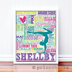Gymnastics Print - Custom Typography Prints - Personalized Gymnastics Gift – PrintChicks