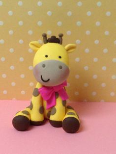 Fondant Baby Girl Giraffe cake topper by Paolascreations on Etsy