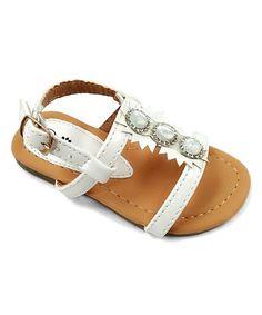 White Embellished-Center Sandal #zulily #zulilyfinds