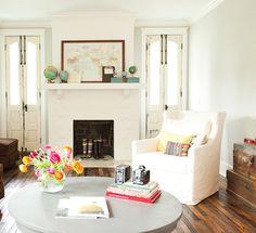 Bradford Project Living Room: Reclaimed Wood Floor, Skinny French Doors, White Living Room