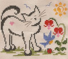 Cats and cross stitch: Brittercup Cat Cross Stitches, Cross Stitch Samplers, Cross Stitching, Cross Stitch Designs, Cross Stitch Patterns, Gato Crochet, Knitted Cat, Beaded Cross Stitch, Cat Decor