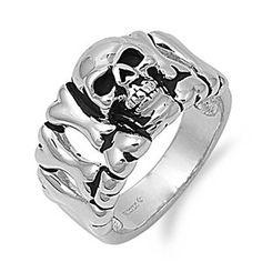 Rhodium Plated Skull Ring