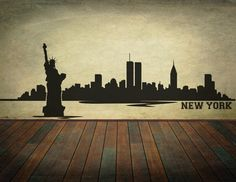 New York City Skyline coupe vinyle Wall Decal - choisir une décoration murale de taille by RespectPrinting on Etsy