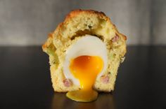 New favorite dish added by Contributing Chef Ricky Yap of Akiko's Restaurant. The Rebel Within from Craftsman and Wolves. #muffin #asiago #cheese #sausage #greenonions #softcooked #softboiled #egg #yolk #breakfast #bakedgoods #bakery #bread #SF #chefsfeed