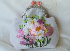 Floral coin purse embroidered hand embroidered pouch womens