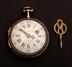 France Paris Pocket Watch Gold Enamel Diamonds Freres Melly 18th century