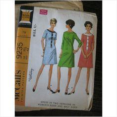 """1960's McCalls pattern 9235 ladies dress size 20.1/2"""" Bust 43""""  uncut - purplestevie ebid"""