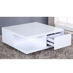tiffany white high gloss cubic led coffee table | mesas de café