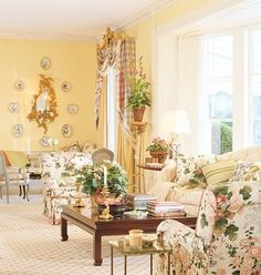 Looking for decorating ideas? Browse beautiful interiors on Architectural Digest for the perfect inspiration to help you design your dream home. Mario Buatta, Floral Upholstery Fabric, English Country Decor, French Country, Interior Decorating, Interior Design, Decorating Ideas, Yellow Walls, Yellow Rooms