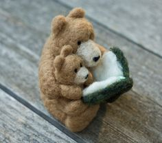 Needle Felted Bear  Reading to Cub by scratchcraft on Etsy, $40.00
