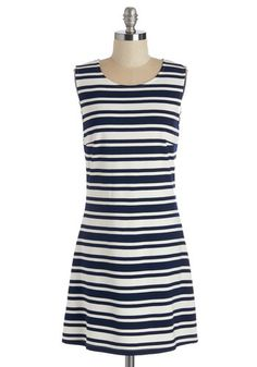 Lovely Alignment Dress. Stripes as splendid as the navy and white ones upon this shift dress deserve to be celebrated!  #modcloth