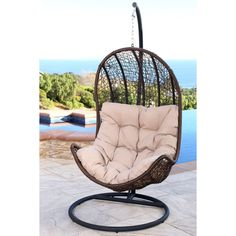 Abbyson Newport Outdoor Brown Wicker Swing Chair (Brown), Patio Furniture (Iron)