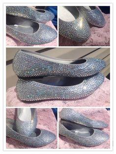 Custom Crystal Rhinestone Ballet Flats - Glass Slippers - Cinderella Slippers - Adult Swarovski Crystal Shoes