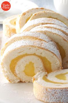 Tart and delicious, this pretty cake roll will tickle any lemon lover's fancy. Its feathery, angel food texture enhances its guilt-free goodness. + cooling Makes 10 servings