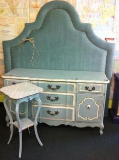 blue dresser side table headboard laissez faire https://www.facebook.com/pages/Laissez-Faire-Company/173246739388458