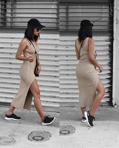 midi dress with matching sneakers, bag, and hat in different color than dress. Could wear with shirt tied around waist or long cardigan/vest for modesty midi dress with matching sneakers, bag, and hat in different color than dress. Chic Outfits, Spring Outfits, Dress Outfits, Fashion Outfits, Fashion Pants, Beige Dress Outfit, Woman Outfits, Midi Dresses, Club Dresses