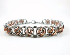 Stainless Steel Bracelet with Copper Chainmaille Jewelry