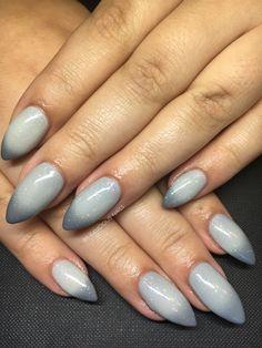 Calgel nails, ombré, grey, nail art, nail design, glitter, gel nails, stiletto