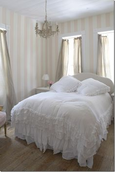 Lace..romance is in the air. Want a bed spread like that.