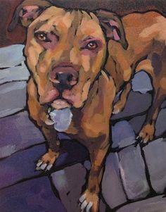 "Daily Paintworks - ""Sweet Face Dog"" - Original Fine Art for Sale - © Kat Corrigan"