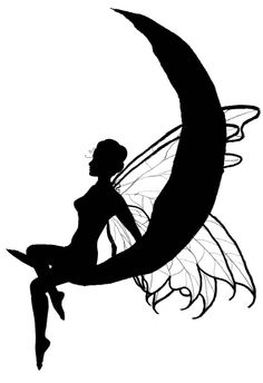 silhouette fairy on moon