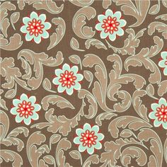 grey Riley Blake fabric with turquoise flowers