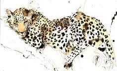 "Saatchi Online Artist Lucy Newton; Mixed Media, ""Sleeping Leopard"" #art"