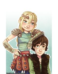 Hiccup and Astrid. They're so adorable together! They do remind me of Will and Alyss, Ive only read the first one though so...