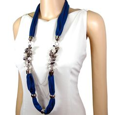 Pearlescent Bead Necklace Jewelry Scarf Blue Fashionable Layer Accessory | eBay