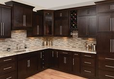 Dark, light, oak, maple, cherry cabinetry and wood kitchen cabinets with grey wa… – Gray Espresso Kitchen Cabinets Espresso Kitchen Cabinets, Backsplash With Dark Cabinets, Shaker Kitchen Cabinets, Kitchen Backsplash, Dark Countertops, Kitchens With Dark Cabinets, Dark Cabinet Kitchen, Kitchen Ideas With Brown Cabinets, Cupboards