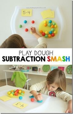 Kids are going to have a blast practicing subtraction with this math games for Toddler, Preschool, and Kindergarten age kids using playdough. Playdough Subtraction Activity for Kids I love fun… Homeschool Kindergarten, Elementary Math, Teaching Math, Math Teacher, Homeschooling, Teacher Games, Teaching Multiplication, Montessori Elementary, Montessori Preschool