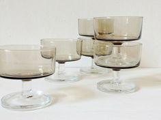 Vintage 1970s smoked brown glasses dessert bowls wine by GoodsGarb