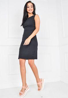 Gładka sukienka z rozcięciem | Sukienki.shop