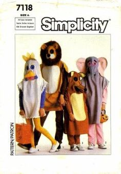 Amazon.com: Simplicity 7118 Sewing Pattern Childrens Animal Costumes Size 2 - 12