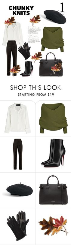 """#fall #chunkyknite #autumn #leave"" by marticarvallo ❤ liked on Polyvore featuring Brandon Maxwell, Maison Margiela, Christian Louboutin, Venus, Burberry, Lanvin and Anne Klein"