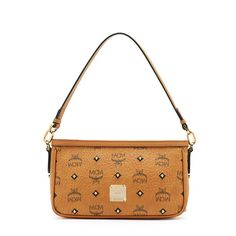 MCM Small Gold Visetos Studs Shoulder Bag In Brown