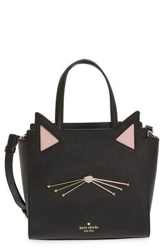 Free shipping and returns on kate spade new york 'jazz things up cat - small hayden' saffiano leather satchel at Nordstrom.com. Adorable ears and whiskers lend jaunty feline charm to a lavish Saffiano-leather satchel polished with gleaming goldtone accents.