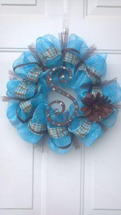 """S"" Deco Mesh Wreath by Tonia"