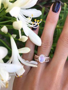 14kt gold and diamond solitaire moonstone eternity ring – Luna Skye #diamondsolitairerings