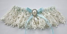 Bride Garter with Something Blue Shadow Ribbon and Venice Lace